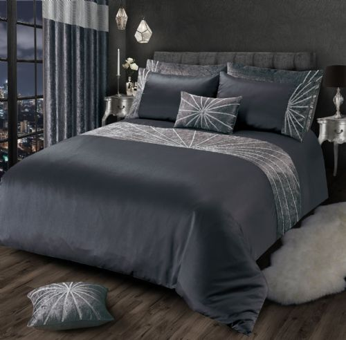 CHARCOAL GREY CHIC SHIMMER GLAM DIAMANTE STAR CRUSHED VELVET LUXURY BEDDING LUXURY RANGE
